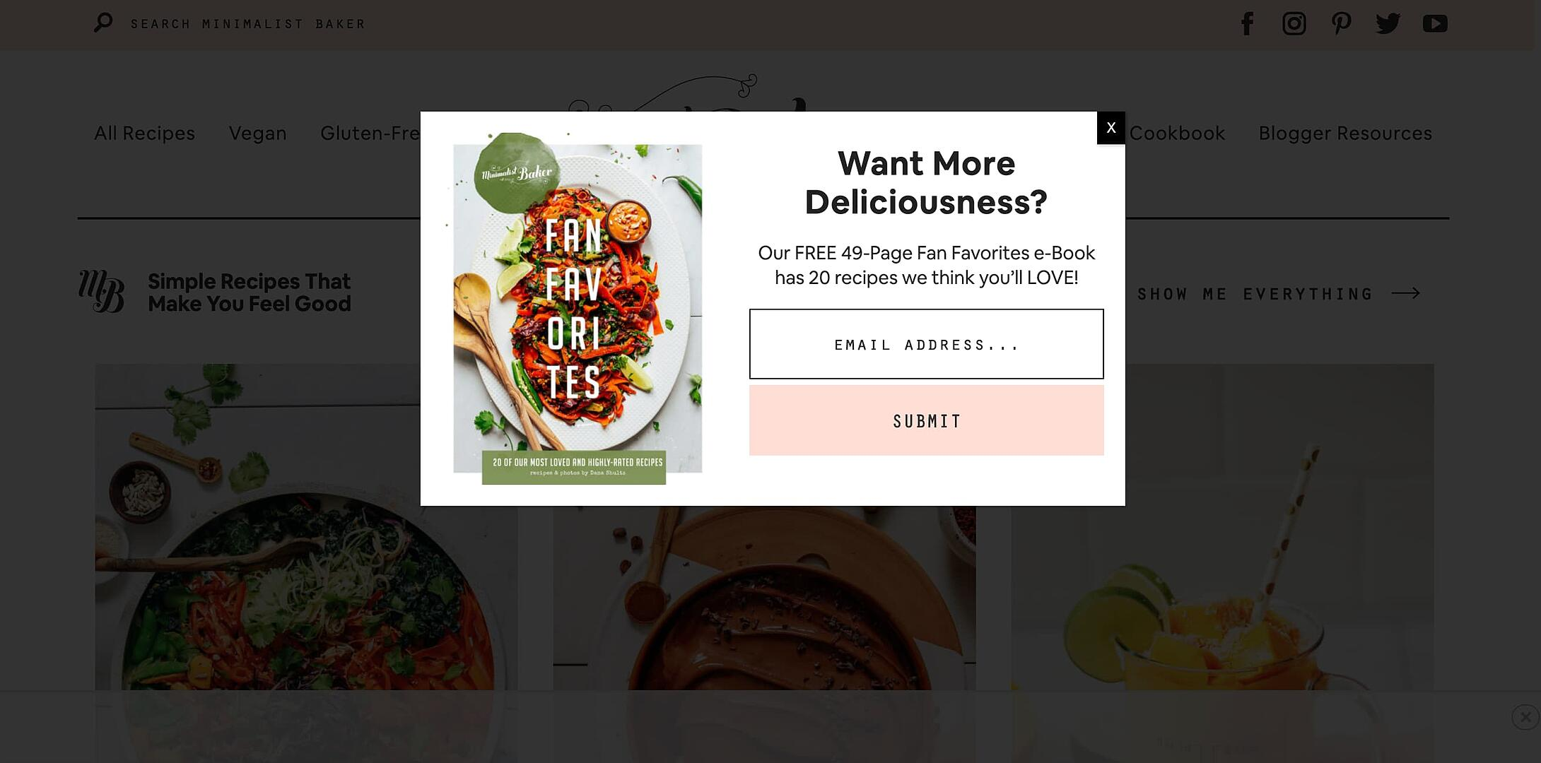 Minimalist Baker e-book pop up
